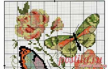 """Скачать схему вышивки """"Чудесная игла"""" 42-04 «Бабочки и розы»"""
