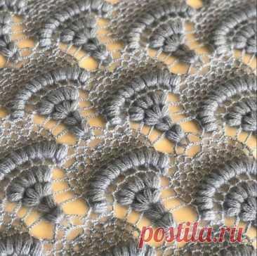 Красивый узор для шали крючком #вязание_крючком@rukodeliamir