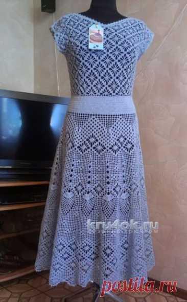 Платье Прованс, филейное вязание крючком