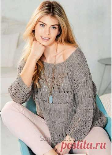 Пуловер с сочетанием узоров цвета конопли