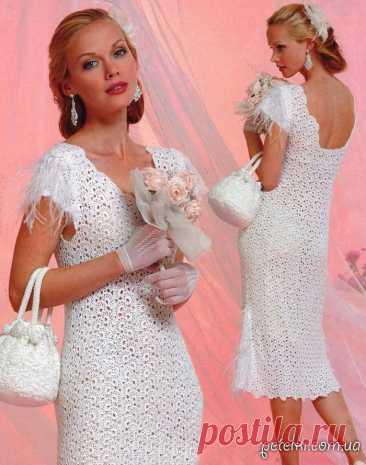 Платье в технике ленточного кружева (+ сумочка). Описание, схема, выкройка Очень нежное праздничное платье, связанное крючком в технике ленточного кружева, а также сумочка к нему. Чем вам не свадебное платье? Скромное и одновременно красивое.   banner_adaptivniy   Очень нежное праздничное платье,