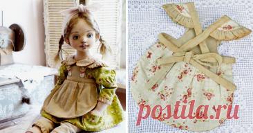 Шьем аккуратный фартучек для куклы В шитье кукольной одежды есть свои тонкости. Платье куклы очень портят машинные строчки прямо поверх ткани. Швы выглядят грубо и топорно, что очень портит кукольный наряд. Сегодня я хочу показать и рассказать, как я прячу эти строчки, используя подкладку и потайные швы. 1. Выкройка, с которой мы и будем работать. Выкройка состоит из следующих деталей: фартук, крылышко, нагрудник с завязками, полоска для оборок и бретелек. 2. Работаем с фартуком.