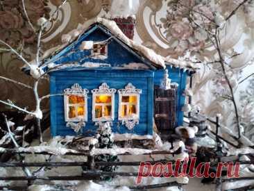 Родительский дом. Домик из картона с подсветкой. Автор: Татьяна Аджамова