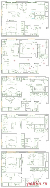 Поиск планировки: 4 плана + финал для апартаментов под сдачу | Houzz Россия