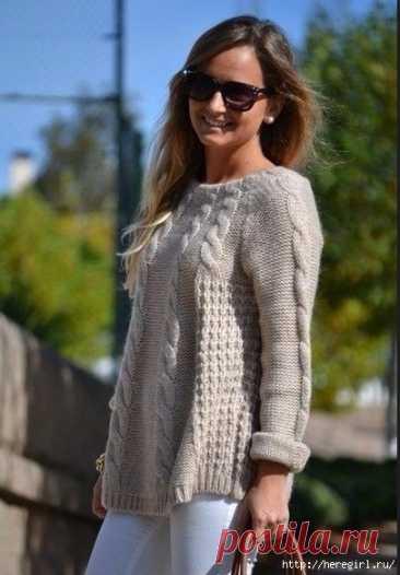 Свободный пуловер с косами.