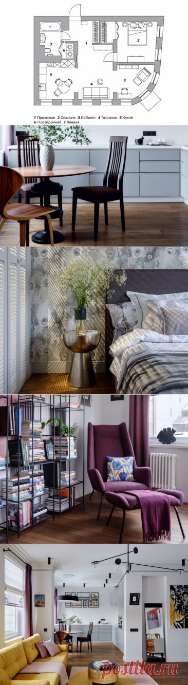 Дизайн-проект: стильная квартира с кабинетом в эркере | DIVAN.RU | Яндекс Дзен