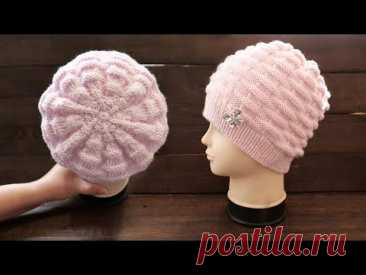 Вяжем ШАПКУ из переплетений спицами 🧺 Knitted «Baske» hat
