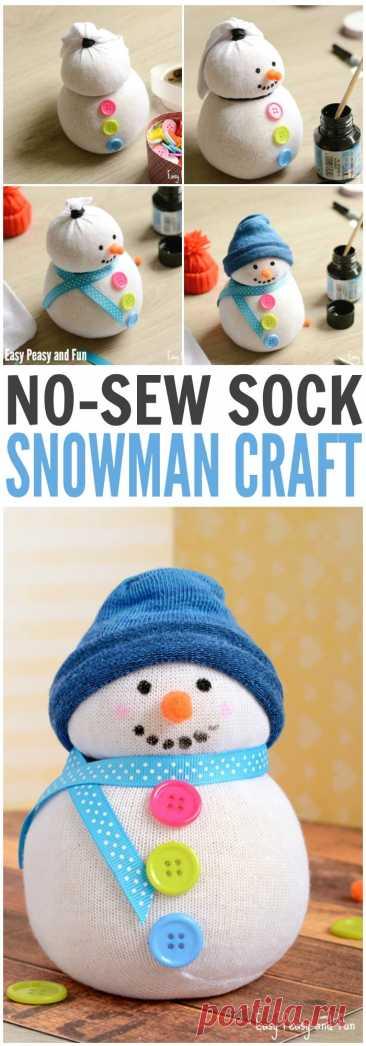 Снеговик из носков без шитья - легко и весело