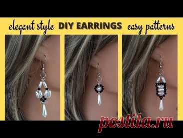 diy beaded earrings. easy patterns for beginners. beaded earrings.