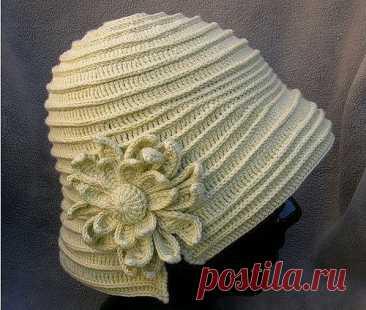 Интересная шляпка, связанная крючком ( полное описание+ схема цветка)