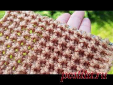 Вяжем очень рельефный фоновый узор спицами ☝️ knitting pattern.