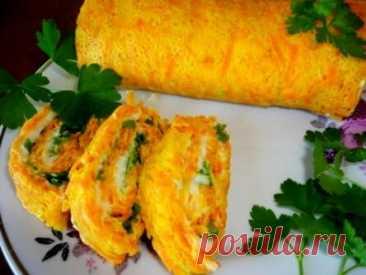 Морковный рулет с сыром и зеленью