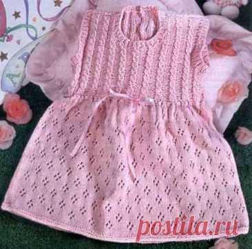 Вязаное платье для малышки 9-12 месяцев