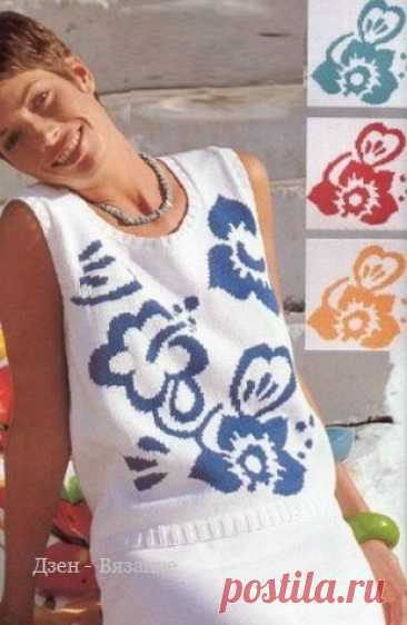 Ажурные майки спицами со схемами   Вязание   Яндекс Дзен
