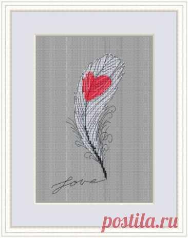 схема для вышивки пера С любовью