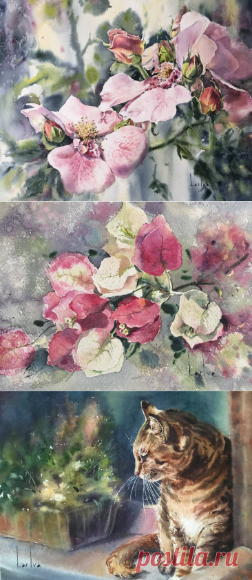 Цветочный мир в акварелях Ларисы Иванисенко