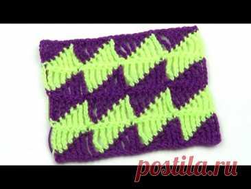 Двухцветный узор из разновысоких столбиков Two color pattern of different height stitches