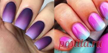 Градиент на ногтях - как сделать градиент на ногтях фото