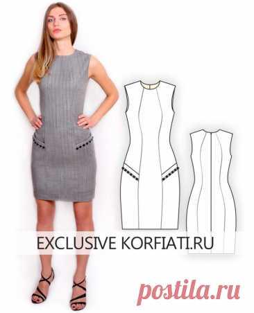 Скачать выкройку платья-футляр на 5 размеров от А. Корфиати