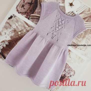 Нежное платье для девочки спицами. Вязаное спицами платье на девочку 3-4 лет | Шкатулка рукоделия. Сайт для рукодельниц.
