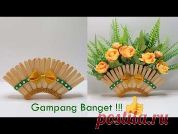 Ide kreatif Vas bunga dari Stik Es Krim | kreasi stik es krim | Popsicle stick craft