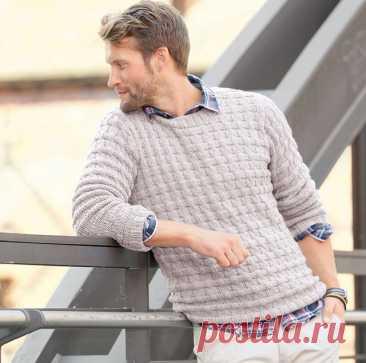 Мужской джемпер узором из смещенной резинки спицами для начинающих со схемами и описанием – пора вязать согревающие вещи для любимых - Пошивчик одежды Оригинальный, эффектный, стильный мужской джемпер несомненно понравится всем. Для мужчин он удобен и практичен в носке, для женщин же привлекателен узор,