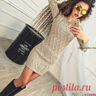 Платье спицами арановыми узорами. Модное платье спицами 2021