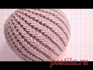 Шапка спицами  Шапка резинка  Как связать шапку  Мастер класс