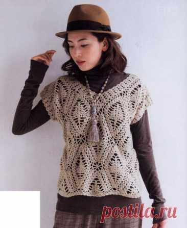 Жилет из японских журналов. @vyazaniehobby#вязаниеспицами_крючком#пуловеры #жилеты