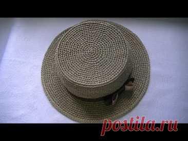 Вяжем  летнюю шляпку из пряжи  рафия крючком  .Шляпа канотье