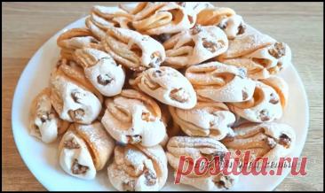 "Красивое и вкусное печенье ""Ракушка"" с безе и орешками!"