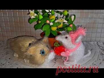 Вязаный котик и мышка  по одной схеме. - YouTube
