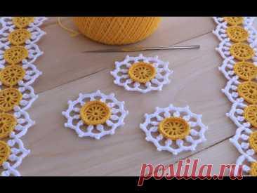 Вязание крючком ПРОСТОЙ КРУГЛЫЙ МОТИВ Ромашка мастер-класс  для начинающих Crochet flower motif