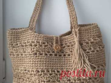 Вяжем сумку-шоппер из джута | Журнал Ярмарки Мастеров