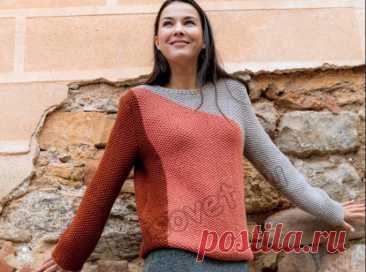 Трехцветный пуловер в технике интарсия - Хитсовет