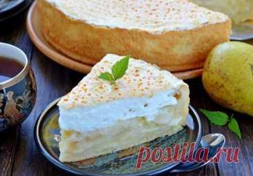 Нежный и вкусный сливочно-грушевый пирог с суфле