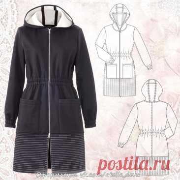Трикотажное пальто с капюшоном. #Готовые_выкройки на размеры 36-44 (евро)