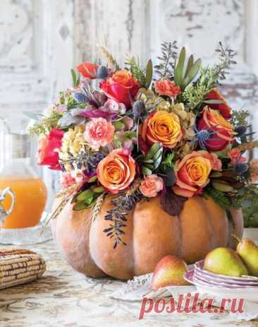 Декор интерьера: Осенний букет в тыкве (30 фото) ~ ALL-DEKOR