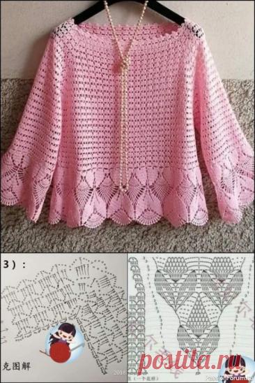 Нежный розовый пуловер крючком   Детская одежда крючком. Схемы