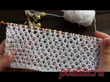 Узор «Летний жемчуг» спицами 🌞 «Summer pearls» knitting pattern 🐚