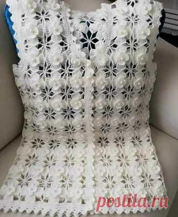 Crochet Floral Women Vest Sweater Free pattern step by step – PAPAR NEWS