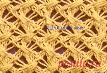 Узор ''Лилия''. Видео МК | Вязание спицами для начинающих Крупная сеточка на спицах, с элементом плетёнки.