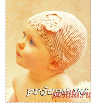 Шапочка спицами для малыша с декоративным краем