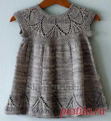 Ажурное платье для девочки спицами — Shpulya.com - схемы с описанием для вязания спицами и крючком