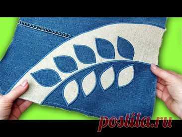 Сумка из старых джинсов своими руками. Потрясающая идея с аппликацией/bag jeans diy