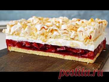 Ciasto Truskawkowa Chmurka z Kremem Śmietanowym i Bezą – Przepis