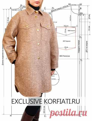 Выкройка пальто-рубашки от Анастасии Корфиати Выкройка пальто-рубашки - пошаговое построение выкройки пальто! Стильное пальто-рубашка из мягкой шерсти - сшить самостоятельно очень просто!