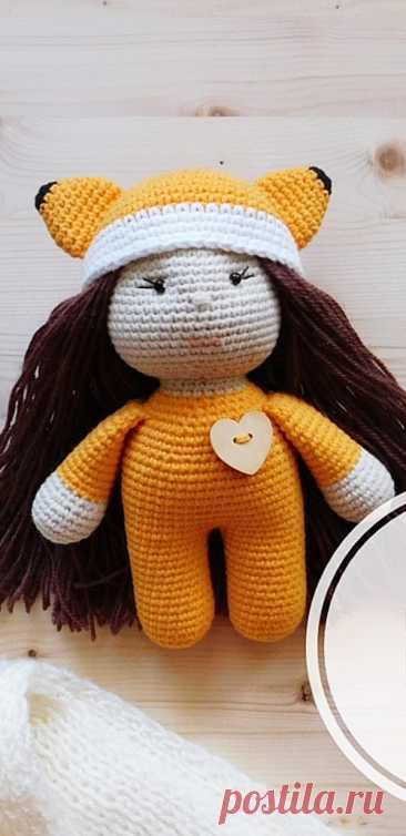 PDF Девочка Лисичка крючком. FREE crochet pattern; Аmigurumi doll patterns. Амигуруми схемы и описания на русском. Вязаные игрушки и поделки своими руками #amimore - Кукла, куколка.