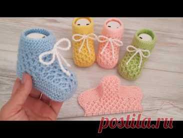 İki Şişle Krokodil Desen Bebek Patiği Çorabı / Knitting Baby Socks Booties DIY Pattern Design