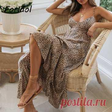 Элегантное летнее платье Foridol с открытой спиной, на шнуровке, женская одежда без рукавов, с леопардовым принтом,  в стиле бохо,